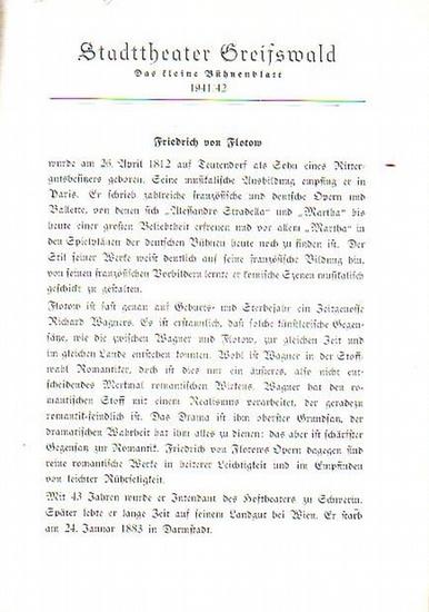 """Stadttheater Greifswald - F.v.Flotow / Koch (Int.Regie) / Kneer (Hrsg.): Stadttheater Greifswald - Das kleine Bühnenblatt 1941 / 1942 Präsentiert die Oper """"Martha"""". Herausgegeben von Dr.Claus Dietrich Koch und Hans Kneer."""