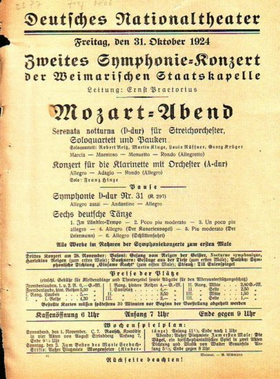 Weimar. - Staatskapelle. - Ernst Praetorius (Leitung). - Weimarische Staatskapelle - Deutsches Nationaltheater Weimar. Programmzettel zum 'Mozart - Abend' / 2. Symphonie - Konzert der Weimarischen Staatskapelle am 31. Oktober 1924 unter der Leit