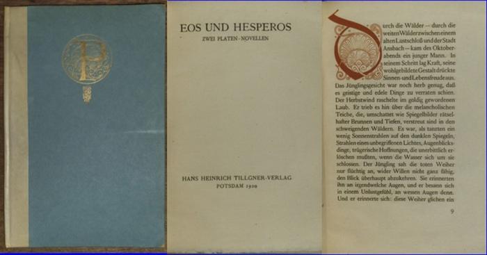 Behmer, Marcus (1879 - 1958). - / Sophie Hoechstetter / Hans von Hülsen: Eos und Hesperos. Zwei Platen-Novellen: Sophie Hochstetter: Nacht der Geburt (24. Oktober 1796) // Hans von Hülsen: Persephone. 2 Teile in einem Band. Mit Buchschmuck v. Marcus Be...