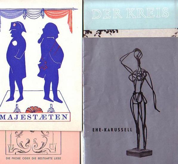 """Programmhefte. Berlin- Renaissance-Theater- Kurt Raeck - Intendanz- (Hrsg.): Ehe-Karussell von Leslie Stevens ; """"Die Probe oder Die bestrafte Liebe"""" von Jean Anouilh ; """"Der Kreis"""" von W. S. Maugham ; """"Majestaeten"""" von Jean An"""