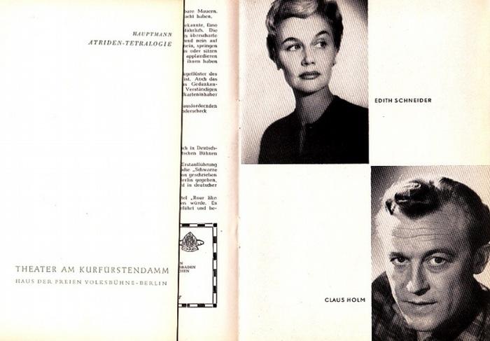 """Hauptmann, Gerhart ; Storm, Lesley. Intendanz (Hrsg.): Frauen sind bessere Menschen ; """"Die Atriden-Tetralogie"""". 2 Programmhefte des Theaters und der Komödie am Kurfürstendamm Berlin."""