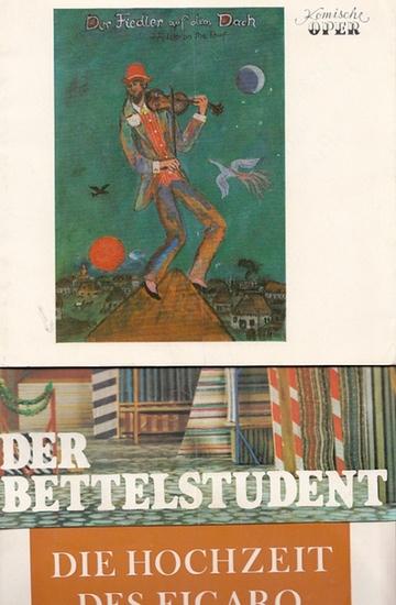 """Millöcker, Karl ; Mozart ; Bock, Jerry.-Komische Oper Berlin. Generalintendant- Hrsg.: Der Bettelstudent ; """"Die Hochzeit des Figaro"""" ; """"Der Fiedler auf dem Dach"""". Komische Oper in Berlin. Spielzeit 1980-1983- Konvolut aus 3 Heften."""