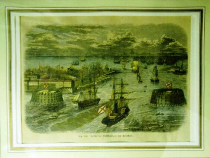 Kronstadt. - Ansicht der Befestigungen von Kronstadt. Colorierter Holzschnitt.