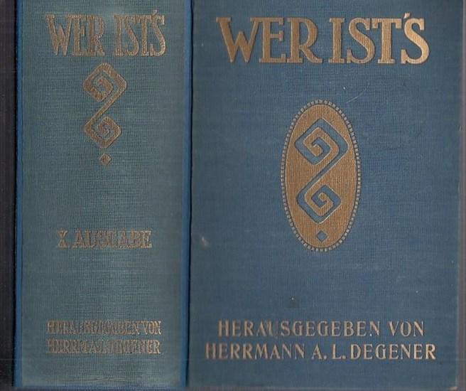 Degener, Herrmann A. L.: Degeners Wer ist 's? 1935. X. (10.) Ausgabe. Eine Sammlung von rund 18 000 Biographien mit Angaben über Herkunft, Familie, Lebenslauf, Veröffentlichungen und Werke, Lieblingsbeschäftigung, Mitgliedschaft bei Gesellschaften...