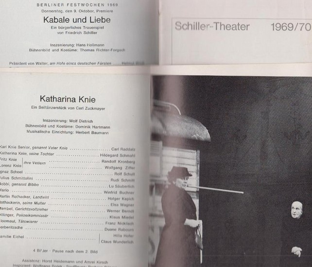 Berlin Schiller Theater -Boleslaw Barlog- Intendanz (Hrsg.) Programmhefte des Schiller Theaters Berlin, Spielzeit 1969 - 1970. Konvolut aus 5 Expl.