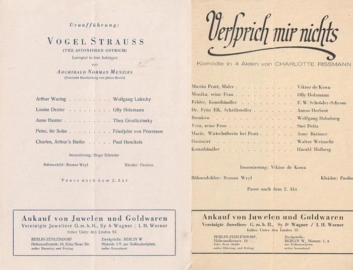Berlin. Tribüne: Am Knie-Berliner Strasse. - Intendant: Viktor de Kowa- (Hrsg.) Programmzettel der Tribüne. 1946. Konvolut aus 2 Zetteln.