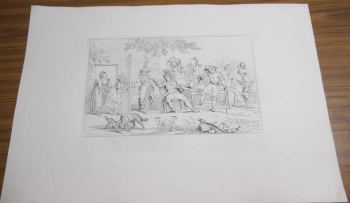 Ramberg, Johann Heinrich (1763 - 1840). - Ohne Titel. Radierung. Abgebildet sind Soldaten beim Gelage im Freien.