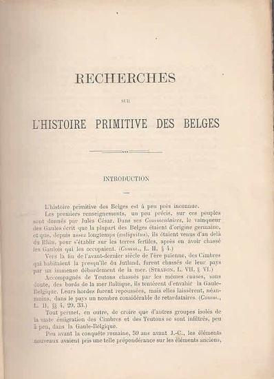 [ Van den Bogaert, Colonel: ] Recherches sur l´histoire primitive des Belges. Les Saga Scandinaves.