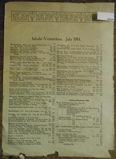 Antiquitätenzeitung. - Inhaltsverzeichnis. - Karl Graf von Rambaldi. - Antiquitäten-Zeitung Inhalts-Verzeichnis. Jahr 1914 der Antiquitäten-Zeitung Zentral-Organ für Sammelwesen, Versteigerungen und Altertumskunde. Vereinigt seit September 1899 mit dem...