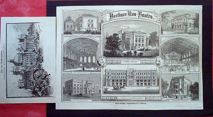 Berlin. - Scherenberg, H.: Berliner Neu-Bauten. [Holzstich nach einer] Originalzeichnung von Scherenberg.