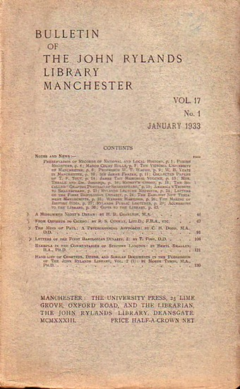 Bulletin John Ryland - Henry Guppy (ed.): Bulletin of the John Rylands Library Manchester Vol. 17, N° 1. January 1933.