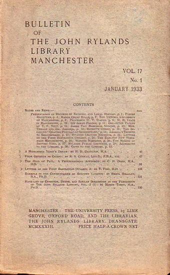 Bulletin John Ryland - Henry Guppy (ed.): Bulletin of the John Rylands Library Manchester Vol. 17, N° 1. January 1933.