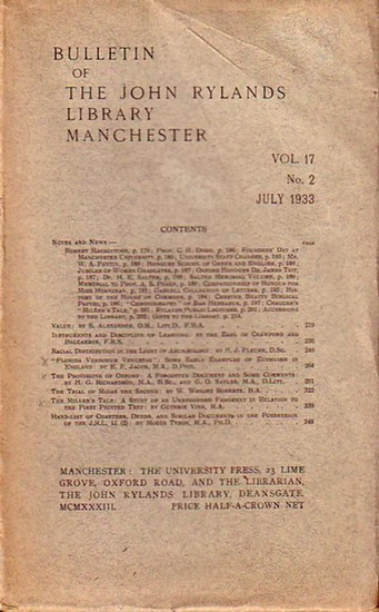 Bulletin John Ryland - Henry Guppy (ed.): Bulletin of the John Rylands Library Manchester Vol. 17, N° 2. July, 1933.