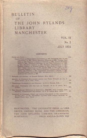 Bulletin John Ryland - Henry Guppy (ed.): Bulletin of the John Rylands Library Manchester Vol. 18, N° 2. July 1934.