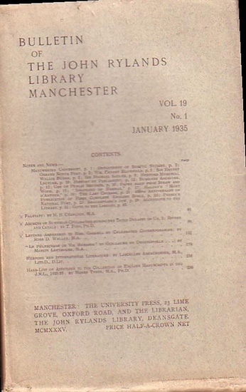 Bulletin John Ryland - Henry Guppy (ed.): Bulletin of the John Rylands Library Manchester Vol. 19, N° 1. January 1935.