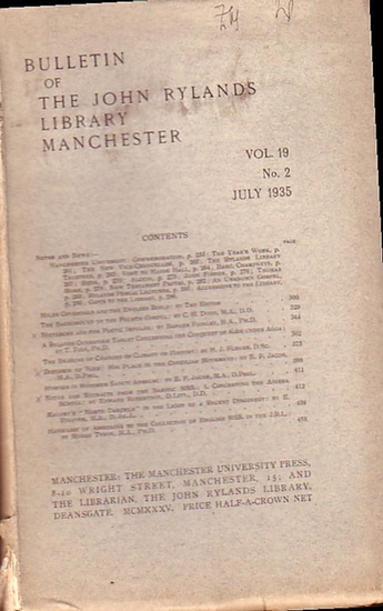 Bulletin John Ryland - Henry Guppy (ed.): Bulletin of the John Rylands Library Manchester Vol. 19, N° 2. July 1935.