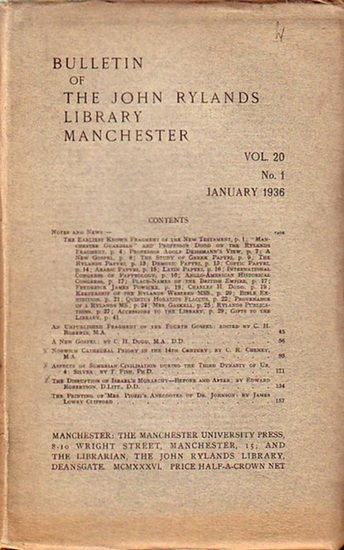 Bulletin John Ryland - Henry Guppy (ed.): Bulletin of the John Rylands Library Manchester Vol. 20, N° 1. January 1936.