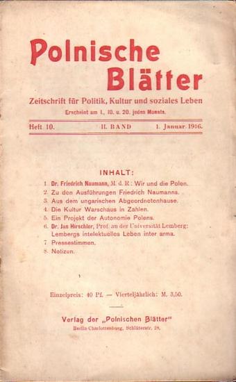 Polnische Blätter. - Feldmann, Wilhelm (Hrsg.): Polnische Blätter. Zeitschrift für Politik, Kultur und soziales Leben. II. Band. Heft 10 vom 1. Januar 1916.