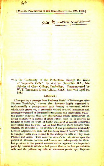 Gardiner, Walter On the Continuity of the Protoplasm through the Walls of Vegetable Cells. Communicated by W. T. Thiselton-Dyer. Received April 16, 1883. From the Proceedings of the Royal Society, No. 225, 1883.