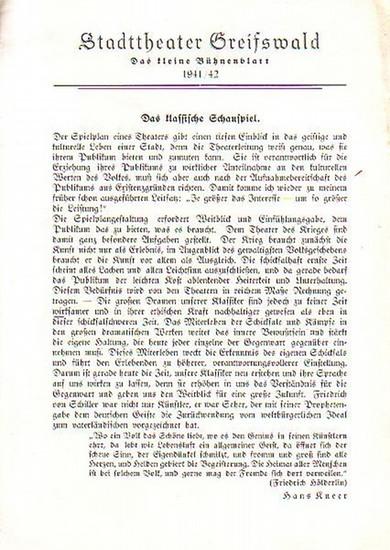"""Stadttheater Greifswald - F.Schiller / Koch (Int.) / Suhr (Regie) / Kneer (Hrsg.): Stadttheater Greifswald - Das kleine Bühnenblatt 1941 / 1942 Präsentiert das Drama """"Don Carlos"""". Herausgegeben von Dr.Claus Dietrich Koch und Hans Kneer."""