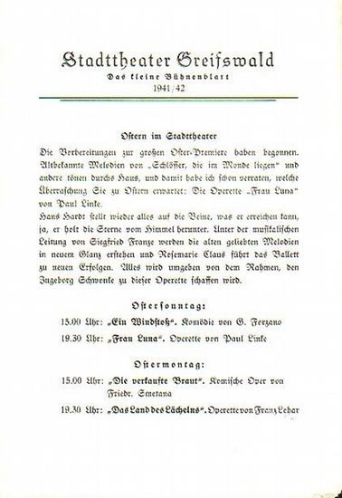 """Stadttheater Greifswald - G.Forzano / Koch (Int.) / Kneer (Hrsg.): Stadttheater Greifswald - Das kleine Bühnenblatt 1941 / 1942 Präsentiert die Komödie """"Ein Winddtoß"""". Herausgegeben von Dr.Claus Dietrich Koch und Hans Kneer."""