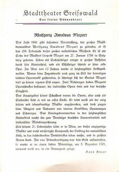 """Stadttheater Greifswald - W.A.Mozart / Koch (Int.Regie) / Kneer (Hrsg.): Stadttheater Greifswald - Das kleine Bühnenblatt 1941 Präsentiert die Oper """"Die Zauberflöte"""". Herausgegeben von Dr.Claus Dietrich Koch und Hans Kneer."""
