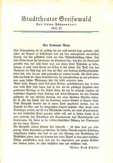 """Stadttheater Greifswald -W.E.Schäfer / Koch (Int.) / Suhr (Regie) / Kneer (Hrsg.): Stadttheater Greifswald - Das kleine Bühnenblatt 1941 / 1942 Präsentiert das Schauspiel """"Der Leutnant Vary"""". Herausgegeben von Dr.Claus Dietrich Koch und Hans ..."""