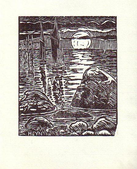Heyn, Karl: Ohne Titel, abgebildet sind Segelschiffe mit Sonnenuntergang.