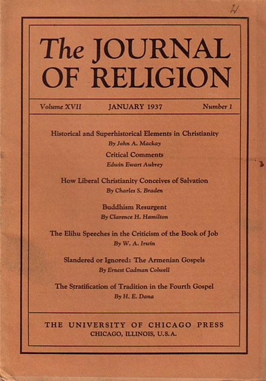 Journal of Religion, The - Shirley Jackson Case (Ed.): The Journal of Religion. Volume XVII, January 1937, Number 1.