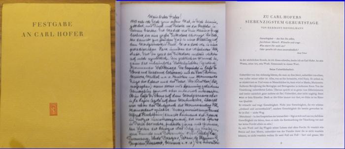 Hofer - Behne, Adolf ; Strauss, Gerhard (Hrsg.): Festgabe an Carl Hofer zum siebzigsten Geburtstag. Hrsg von Gerhard Strauss gemeinsam mit Heinrich Ehmsen, Hermann Henselmann, Werner E. Stichnote. 11. Oktober 1947.
