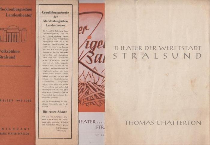 """Jahnn; Hans Henny ; Kubsch, Hermann Werner ; Strauss, Johann. Mecklenburgisches Landestheater / Theater der Werftstadt Stralsund -Intendanz. Hrsg. Die ersten Schritte ; """"Thomas Chatterton"""" ; """"Der Zigeunerbaron"""" ; """"6. Sinfonniekonz"""