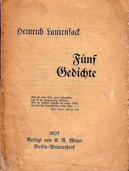 Lautensack, Heinrich : Fünf Gedichte. Flugblätter.