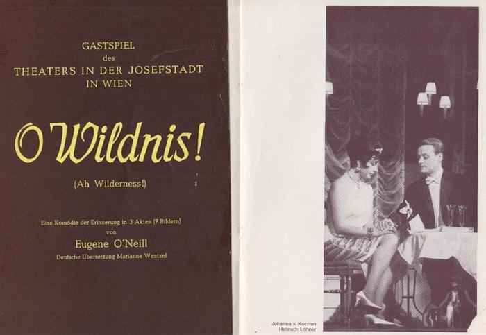 """O`Neill, Eugene ; Anouilh, Jean. Theater in der Josefstadt. Wien -Intendanz. Hrsg. O Wildnis ; """"Leocadia"""". Programmhefte ohne Jahr [ ca 1963] Konvolut aus 2 Heften."""