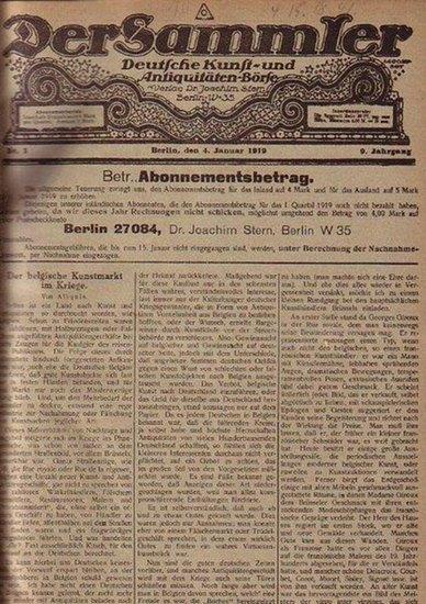 Sammler, Der - Stern, Joachim: Der Sammler - Deutsche Kunst- und Antiquitäten-Börse. Jahrgang 9, 1919, Heft 1 - 52.