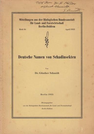 Schmidt, Günther: Deutsche Namen von Schadinsekten.