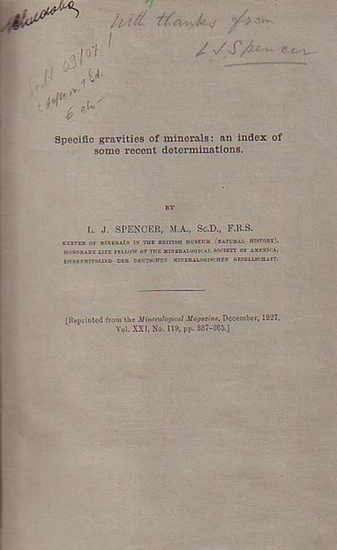 Spencer, L.J.: Specific gravities of minerals: an index of some recent determinations.