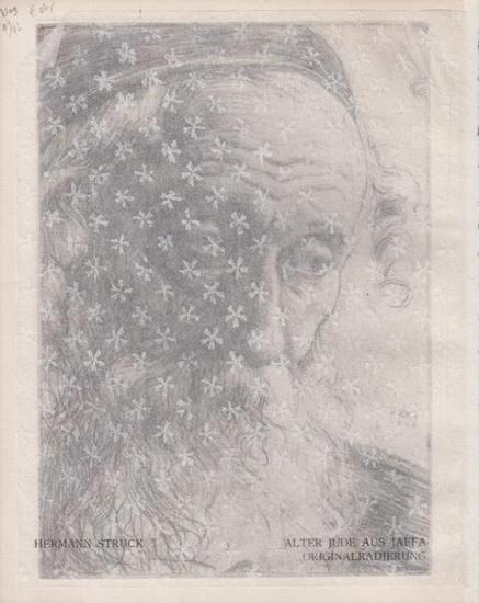 """Struck, Hermann: Alter Jude aus Jaffa [Kopfporträt]. Originalradierung, in der Platte sign. """"HS 1905"""" mit Davidstern. [Aus Struck: Die Kunst des Radierens]."""