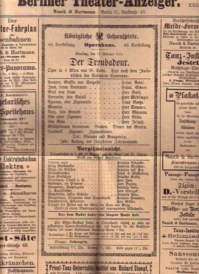 Verdi, Giuseppe: Besetzungszettel zu:Verdi: Der Troubadour. Oper in vier Akten UND Goldberger: Vergißmeinnicht. Tanzmärchen in 1 Akt. Aufführung am 12. Februar 1901 in: Königliche Schauspiele, Opernhaus, Berlin.