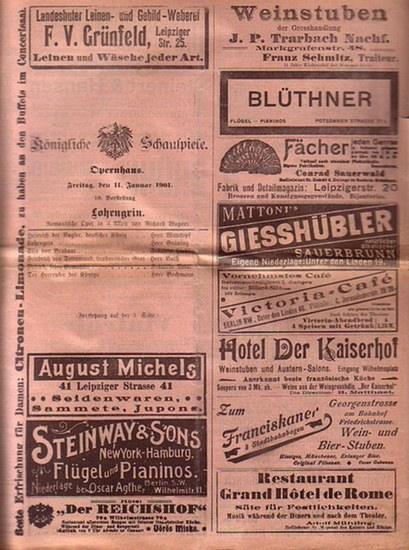 Wagner, Richard / Leoncavallo, R. / Mader, Raoul / Humperdinck, Engelbert / Bayer, Joseph / Mozart, Wolfgang Amadeus: Konvolut von 7 Besetzungszetteln der Königlichen Schauspiele, Opernhaus, Berlin aus dem Jahr 1901 zu: Richard Wagner 'Lohengrin&#...