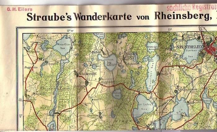 Straube Wanderkarten. - Straube´s Wanderkarte von Rheinsberg, Fürstenberg, Lychen, Neustrelitz. Maßstab 1:80 000.