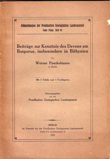 Paeckelmann, Werner: Beiträge zur Kenntnis des Devons am Bosporus, insbesondere in Bithynien. (= Abhandlungen der Preußischen Geologischen Landesanstalt, Neue Folge, Heft 98).