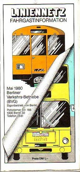 Berliner Verkehrs-Betriebe ( BVG ). - BVG - Liniennetz, Fahrgastinformation. Maßstab 1 : 50 000. Mai 1980.
