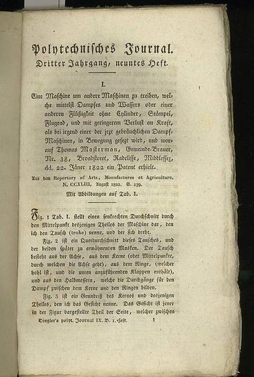 Polytechnisches Journal. Hrsg. v. Johann Gottfried Dingler: Polytechnisches Journal. Band 7. Heft 1. (1822). (3. Jahrgang, 9. Heft )