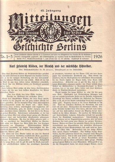 Mitteilungen des Vereins für die Geschichte Berlins - Martin, Hans (Hrsg.): Mitteilungen des Vereins für die Geschichte Berlins. 43. Jahrgang 1926, Heft 1-3.