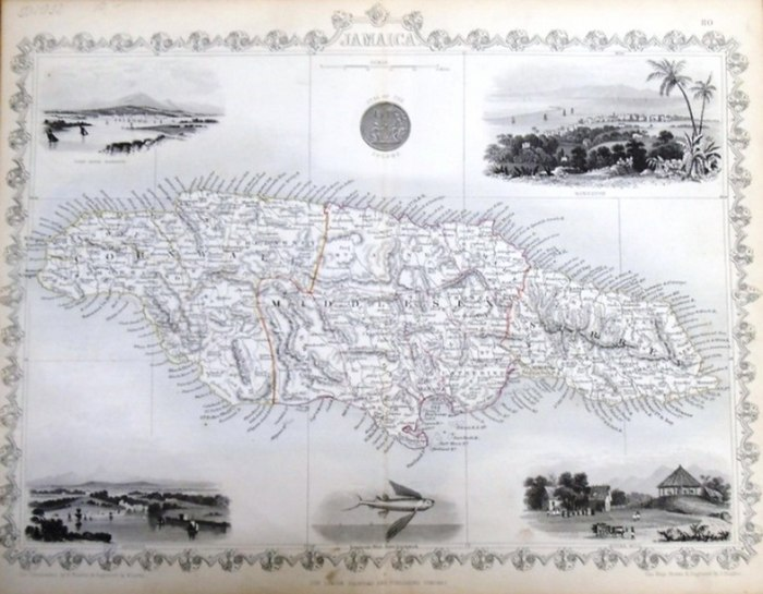 Martin, R.M. (Hrsg.) - Winkles, H. (ill) /Lacey, W. (engraved) / Rapkin, John (The Map Drawn & Engraved by): steal engraving / Grenzcolorierter Stahlstich Jamaica. Mit 6 weiteren BildStahlstichen 1) Port Royal Harbour. 2) Seal of the Colony. 3) Kingston.