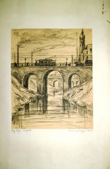 Krüger, Hellmuth: Original Lithographie 'Vorstadt.' Signiert.