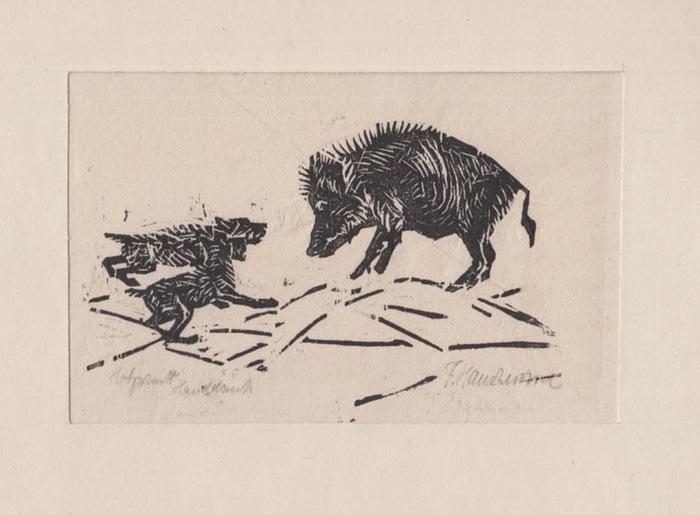 Hartmann, F.: Original Holzschnitt Handdruck. ohne Titel [Wildschwein mit zwei Hunden]. Signiert.