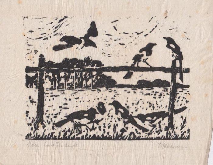 Hartmann, F.: Original Linolschnitt. Handdruck. 'Elstern.' Signiert.