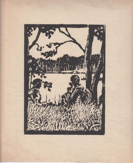 Anonym. - [Hartmann, F.]: Originalholzschnitt. Handdruck. Ohne Titel [ Sitzendes Paar am See ].