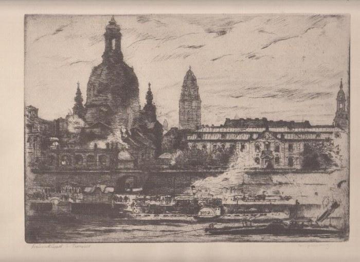 Dresden. - Originalgraphik Dresdener Frauenkuppel und Terrasse darstellend.